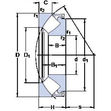190 mm x 380 mm x 73 mm  SKF 29438 E thrust roller bearings