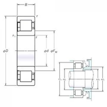 140 mm x 250 mm x 42 mm  NSK NJ228EM cylindrical roller bearings