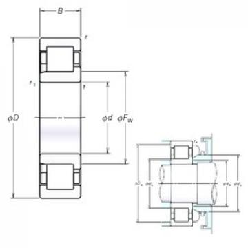 180 mm x 380 mm x 75 mm  NSK NJ336EM cylindrical roller bearings