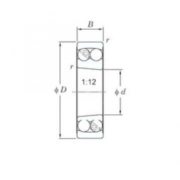 55 mm x 100 mm x 25 mm  KOYO 2211K self aligning ball bearings
