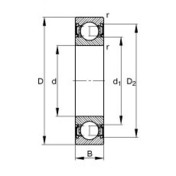 75 mm x 130 mm x 25 mm  FAG 6215-2RSR deep groove ball bearings