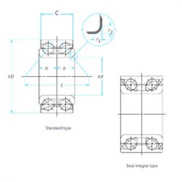 38 mm x 74 mm x 36 mm  NTN AU0814-1LLX/L260 angular contact ball bearings #3 image
